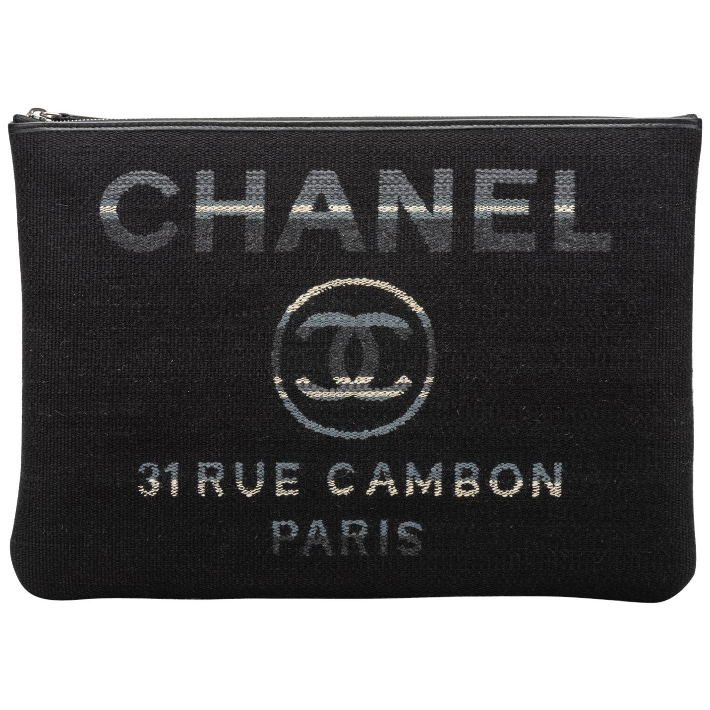 Chanel Large Quilted Black Striped Clutch