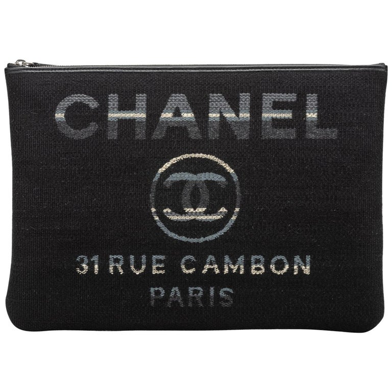 Chanel Large Quilted Black Striped Clutch For Sale