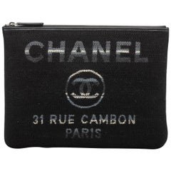 New in Box, Chanel Medium Black Striped Clutch Bag
