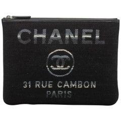 New in Box, Chanel Medium Black Striped Clutch Bag