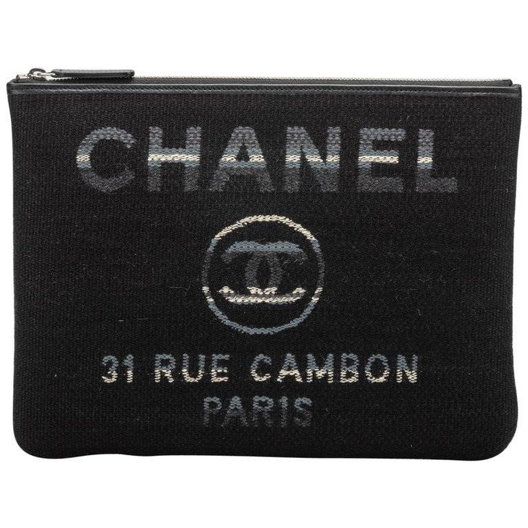 New in Box, Chanel Medium Black Striped Clutch Bag For Sale