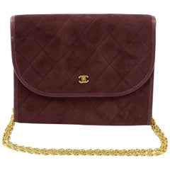 Vintage CHANEL wine suede 2.55 style mini shoulder bag with CC and skinny chains