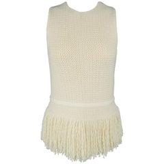 CELINE Size S Beige Wool Blend Knit Sleeveless Fringe Dress Top