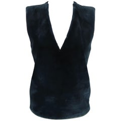 REED KRAKOFF Size 4 Navy Wool Fur Panel Sleeveless Vest Dress Top