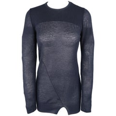Isabel Marant Navy Cashmere Sheer Burnout Pullover