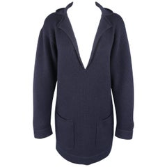CHANEL Size 4 Navy Cashmere V Neck Lapel Mini Sweater Dress