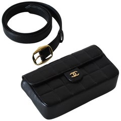 Rare Chanel Vintage Black Lambskin Quilted Fanny Pack Waist Belt Bum Bag