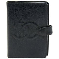 Vintage Chanel Black Caviar Leather 6 Ring Agenda Cover