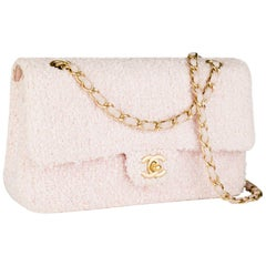 Chanel Vintage Pink Tweed Medium Classic Soft Pink Flap Bag
