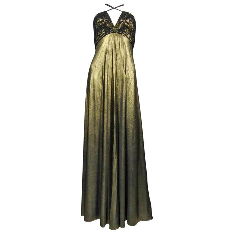 Christian Lacroix Haute Couture Golden Evening Gown, Circa 1995 For Sale