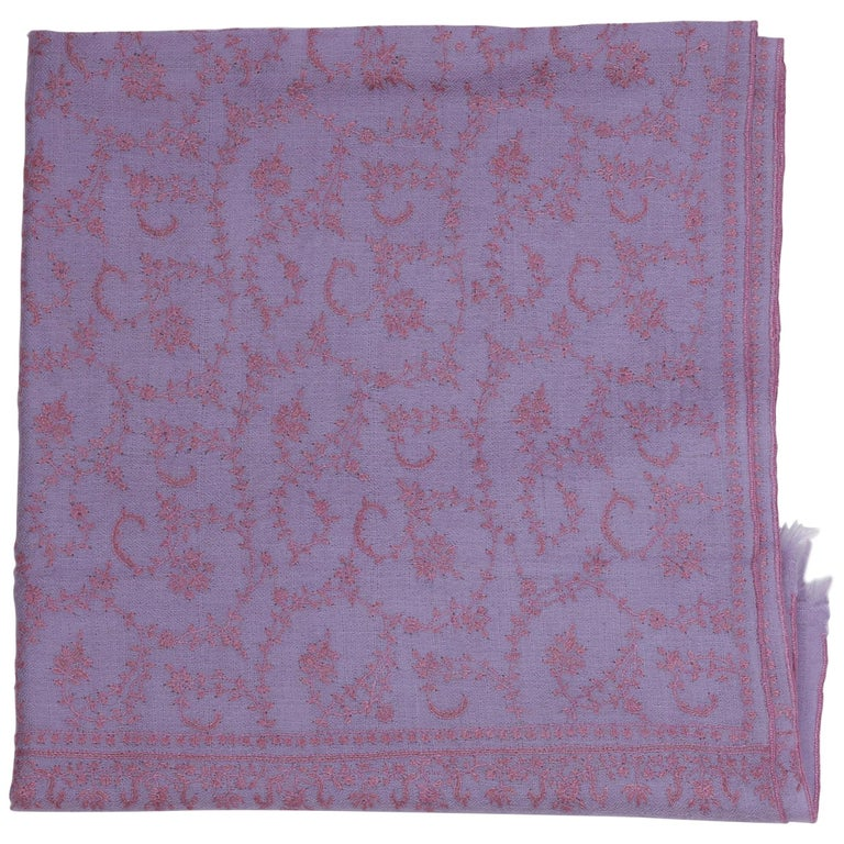 Limited Edition Hand Embroidered Cashmere Shawl in Lilac Made in Kashmir India