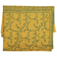 Limited Edition Hand Embroidered Cashmere Shawl in Yellow Made in Kashmir India