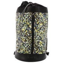 Fendi Front Zip Backpack Printed Nylon Large