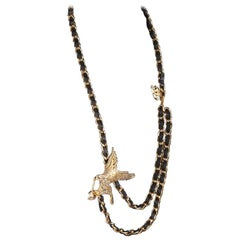 Chanel Gold Metal Chain Eagle Necklace or Belt with Rhinestones