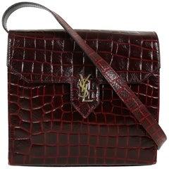 Yves Saint Laurent YSL Vintage Croc Embossed Leather Bag Clutch