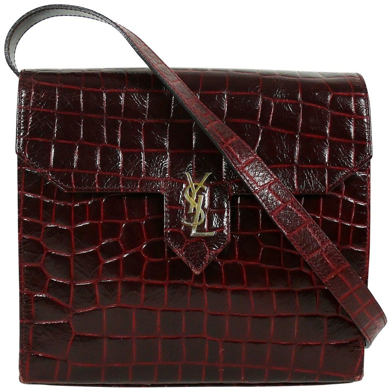 cbed8a1080c6 Yves Saint Laurent YSL Vintage Croc Embossed Leather Bag Clutch at 1stdibs