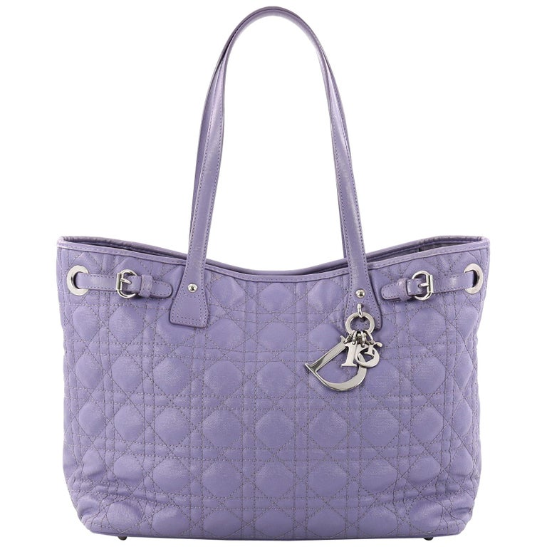 Christian Dior Panarea Tote Cannage Quilt Canvas Small