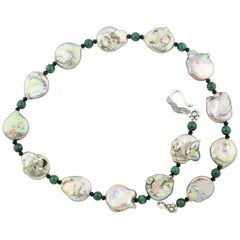 """Gemjunky Irridescent 17mm Coin Pearls, Malachite, & Black Spinel 17"""" Necklace"""