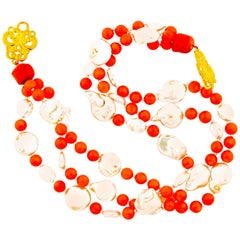 Orange Coral and Coin Pearls Multi-Strand Necklace