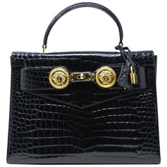 Versace Diana Embossed Crocodile Patent Leather Bag