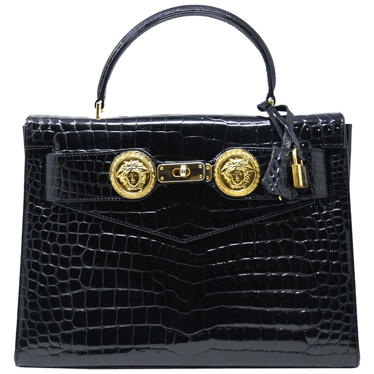 Versace Diana Embossed Crocodile Patent Leather Bag For Sale at 1stdibs 838a48a05f7dd