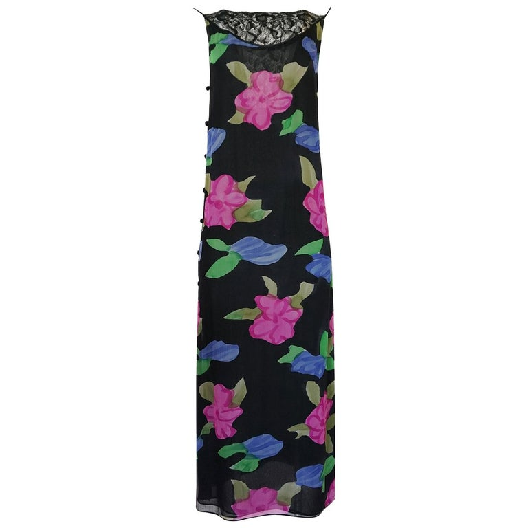 James Galanos Floral Print Silk and Lace Inserts Dress, 1970s  For Sale