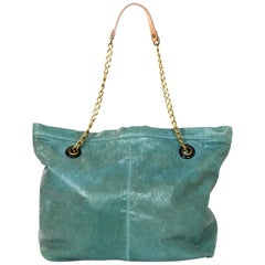 Lanvin Turquoise Distressed Leather Tote Bag w. Dust Bag