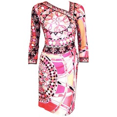 Emilio Pucci Pink Asymmetric V Neck Gathered At Waist Dress