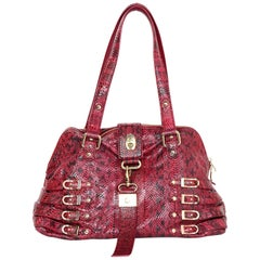 Jimmy Choo Red Snakeskin Buckle Tote Bag with Dust Bag