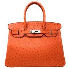 Hermes Birkin 30cm Tangerine Orange Ostrich