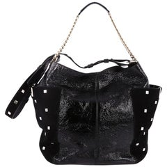 Jimmy Choo Anna Tote Leather and Studded Suede
