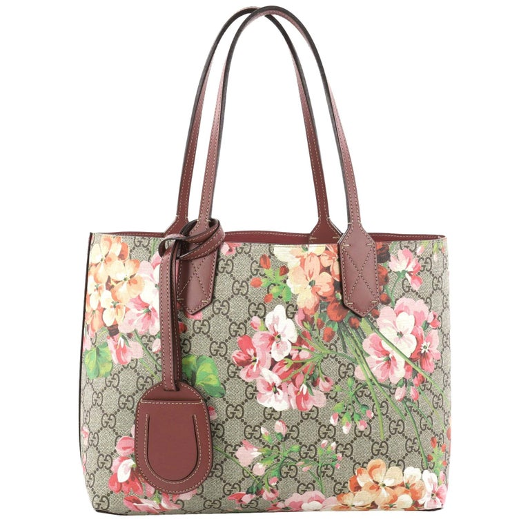 ec3b49bf134 Gucci Reversible Tote Blooms GG Print Leather Small at 1stdibs