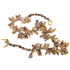 "Gemjunky Irridescent Dazzling 22"" Large Unique Copper Pearl Leaf Necklace"