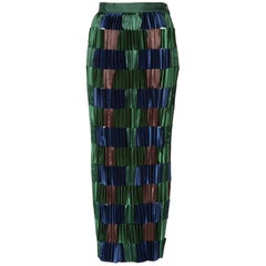 Issey Miyake Green Blue Pleated Satin Ribbon Skirt, 1990s