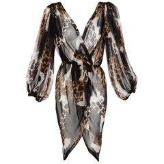 1990s Yves Saint Laurent Sheer Silk Leopard Animal Print Dress Jacket YSL