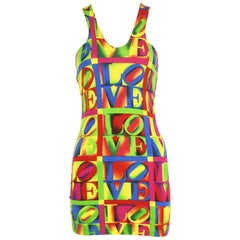 Vintage Versace LOVE Print Knit Jersey Dress - Size IT 44