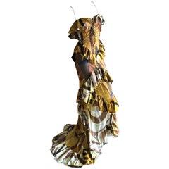 Emilio Pucci Tie Dye Pattern Ruffled Dress w Corset Lace Detailing  Peter Dundas