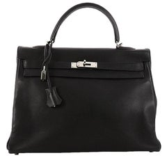 Hermes Kelly Handbag Black Swift with Palladium Hardware 35