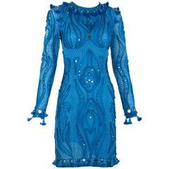 Pucci Blue Embellished Open Back Dress - Size 8
