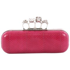 Alexander McQueen Knuckle Box Clutch Python Long