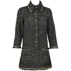 Chanel Black & Gold A-line Dress with Three Quarter Sleeves - Size FR 38