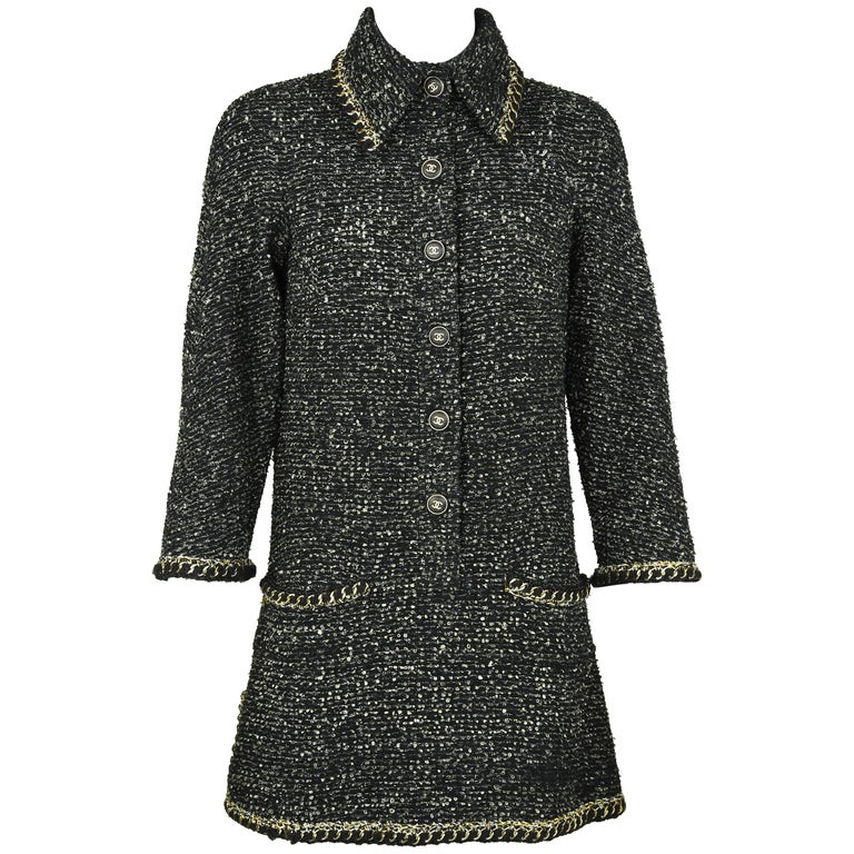 Chanel Black & Gold A-line Dress with Three Quarter Sleeves - Size FR 38 For Sale