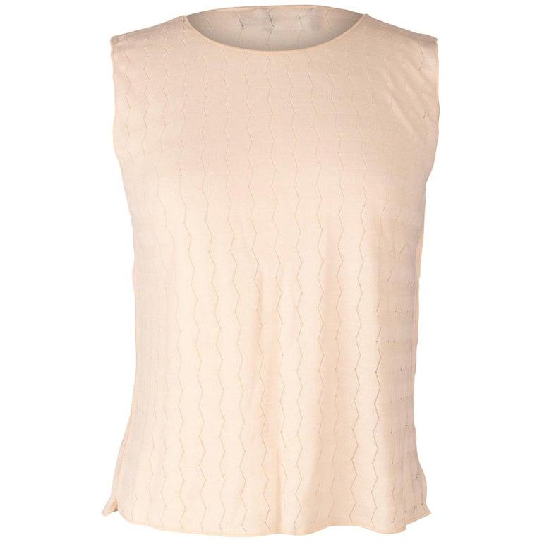 Giorgio Armani Top Nude Sleeveless Pretty Subtle Design 44 / 10 Fits 8