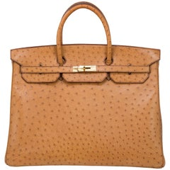 Hermes 40cm Light Brown Ostrich with Gold Hardware Birkin Bag