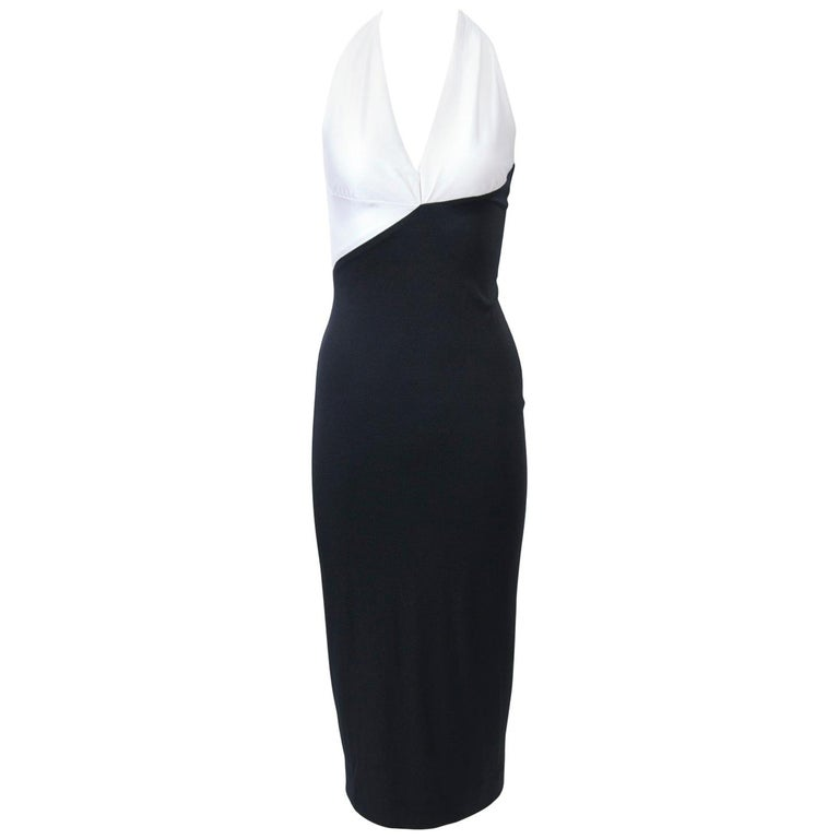 Karl Lagerfeld Black And White Jersey Halter Dress For Sale At 1stdibs