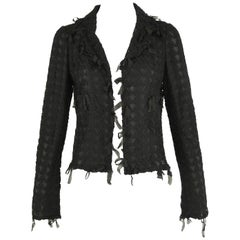 Chanel Black Embroidered Houndstooth Blazer - Size FR 36
