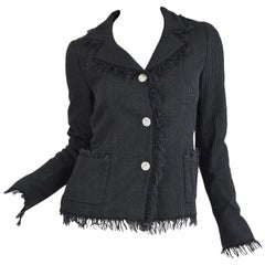 Chanel Black Wool Blazer with Silver Buttons - Size FR 34