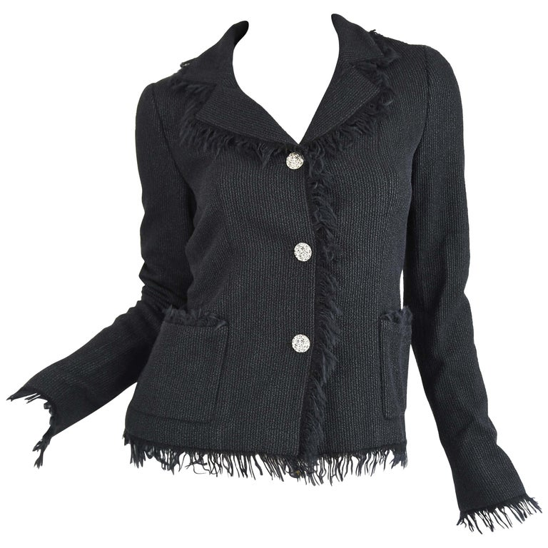 Chanel Black Wool Blazer with Silver Buttons - Size FR 34 For Sale