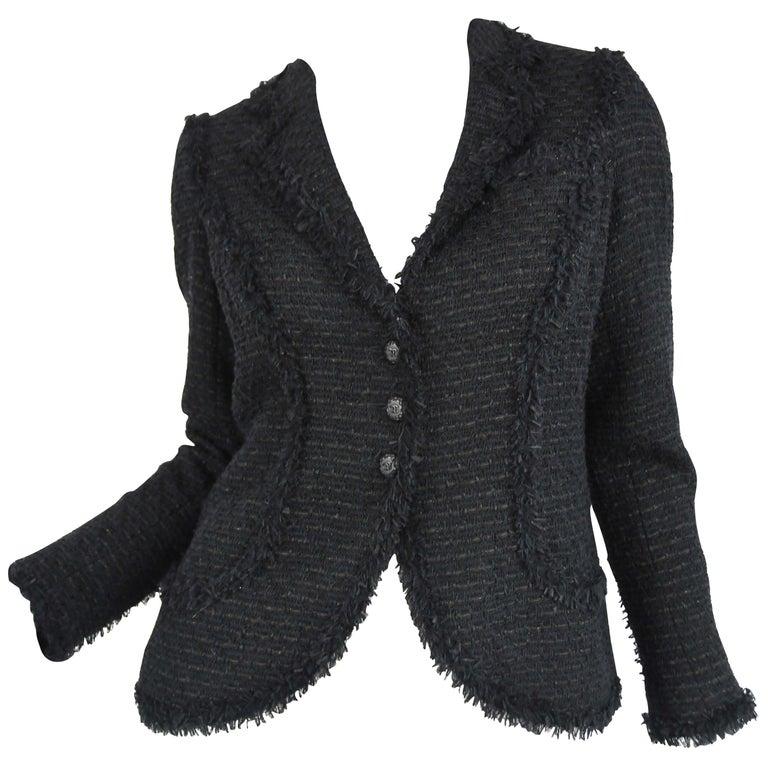 Chanel Classic Black Tweed Blazer with Peak Lapel - Size FR 36 For Sale