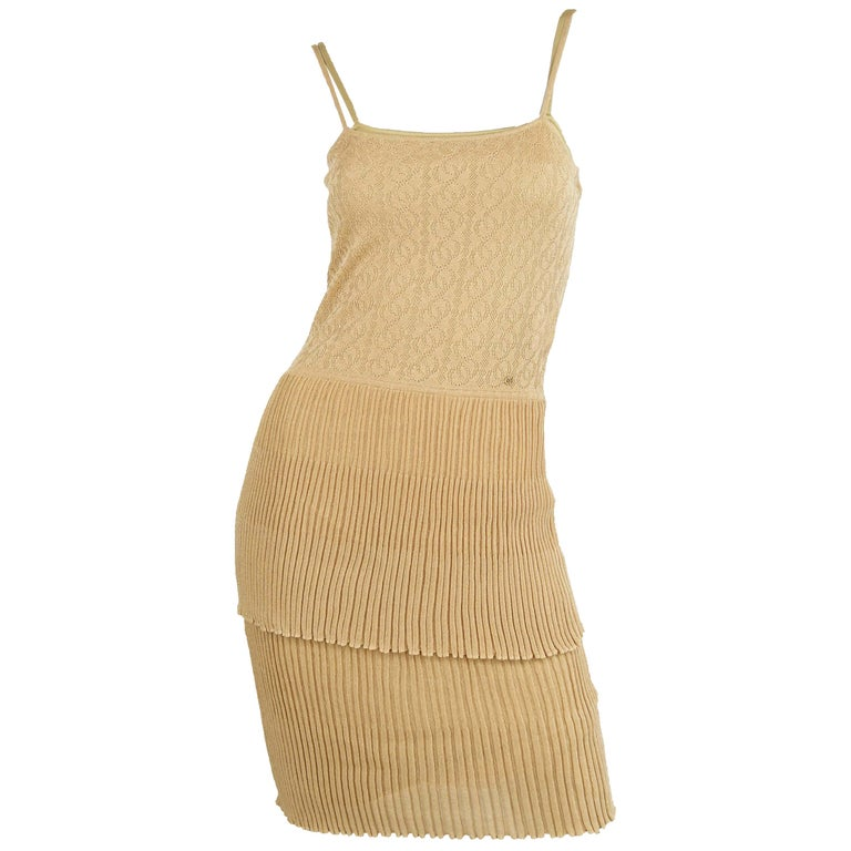 Chanel Gold Knit Two Tiered Dress - Size FR 36 For Sale